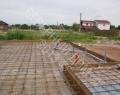 Арматурный каркас фундаментной плиты, внутренняя канализация выполнена в теле плиты фундамента