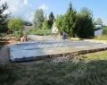 Фундаментаная плита залита. Производится укрывка бетона